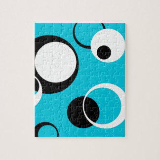 Black white and Blue Circles Jigsaw Puzzle