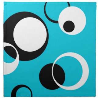Black white and Blue Circles Napkin