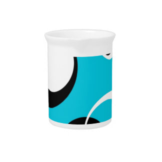 Black white and Blue Circles Pitcher