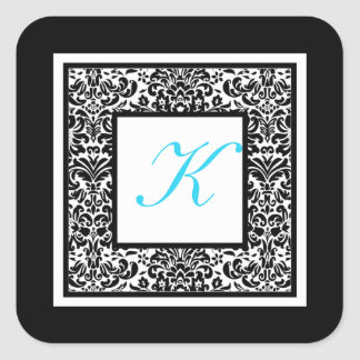 Black, White, and Blue Damask Monogram Sticker