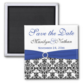 Black, White, and Blue Damask Save the Date Magnet