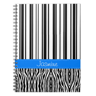 black white and blue monogrammed notebook