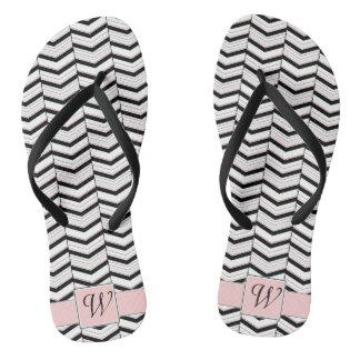Black White and Blush Chevron Flip Flops