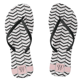 Black White and Blush Chevron Flip Flops Thongs