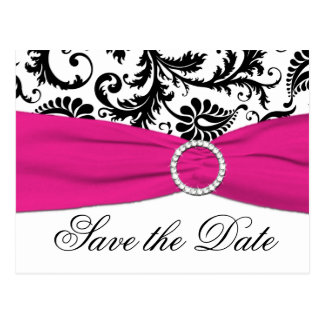 Black, White, and Fuchsia Save the Date Postcard