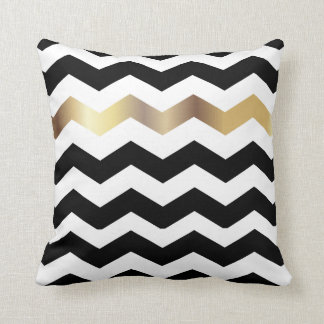 Black, White and Gold Chevron Pattern Throw Pillow