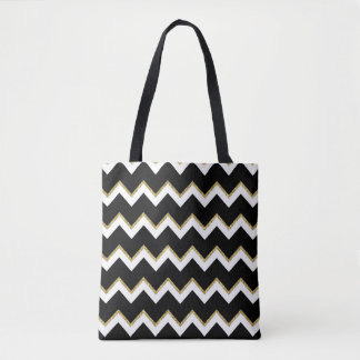 Black, White and Gold Chevron Tote Bag