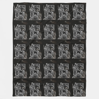 BLACK WHITE AND GOLD NATIVITY FLEECE BLANKET