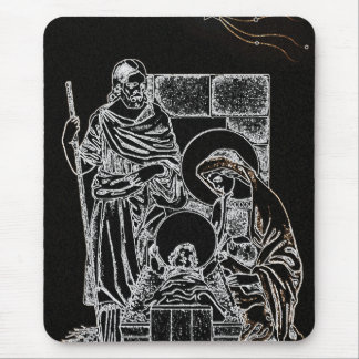 BLACK WHITE AND GOLD NATIVITY MOUSE PAD