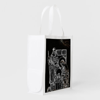 BLACK WHITE AND GOLD NATIVITY REUSABLE GROCERY BAG