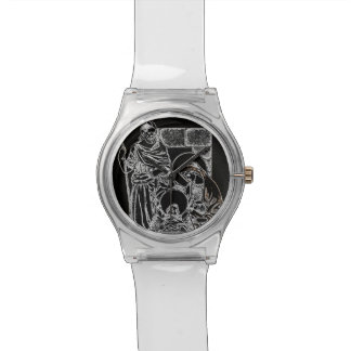 BLACK WHITE AND GOLD NATIVITY WATCH