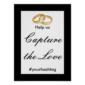 Black, White and Gold Wedding Hashtag Sign Poster