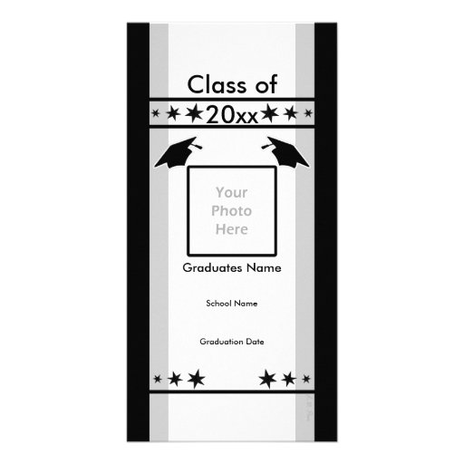 Black, White and Gray Graduation Photo Card Template