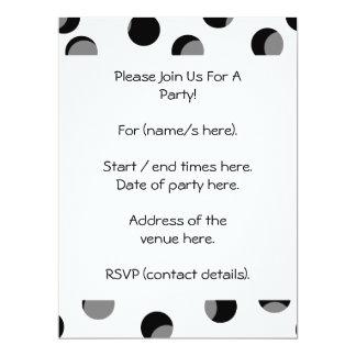 Black, white and gray spotty pattern. 17 cm x 22 cm invitation card
