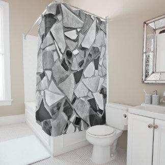 Black, White And Gray Terrazzo Photo Art Shower Curtain