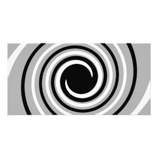Black, White and Gray Twist Design. Custom Photo Card