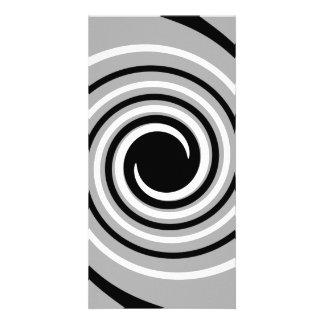 Black White and Gray Twist Design Customized Photo Card