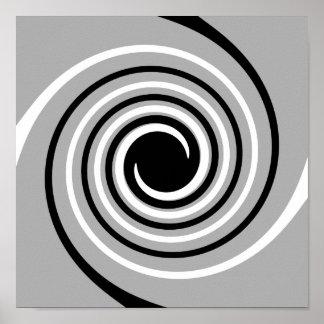Black, White and Gray Twist Design. Poster