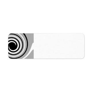 Black, White and Gray Twist Design. Return Address Label