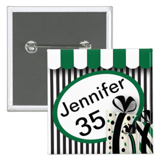 Black, White and Green Stripes | DIY Text 15 Cm Square Badge