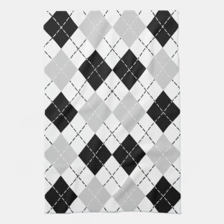 Black White and Grey Argyle Tea Towel
