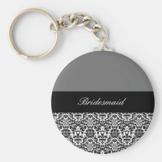 black,white and grey damask design 2 basic round button key ring