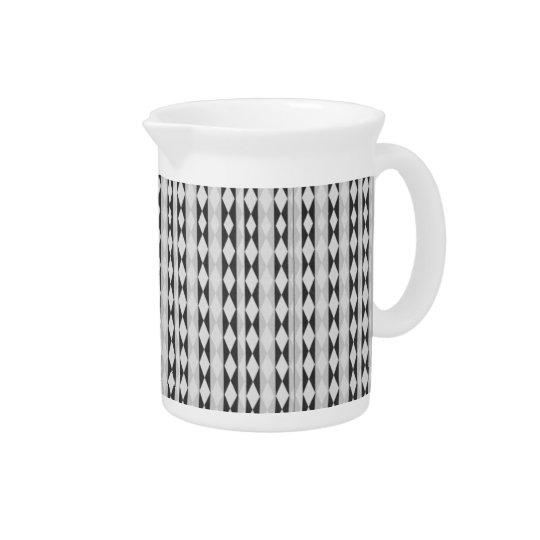 Black, White And Grey Diamond Pattern Pitcher