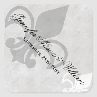 Black White and Grey Fleur de Lis Wedding Stickers