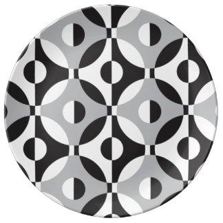 Black, white and grey geometric circles porcelain plates