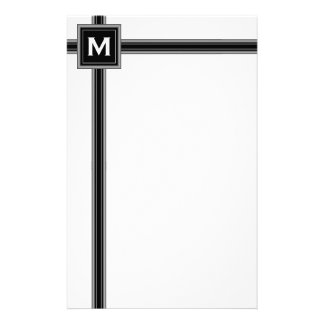 Black, White and Grey Monogram Stationery