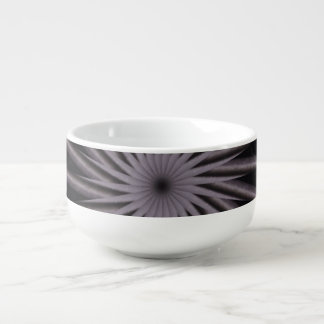 Black white and grey swirly template abstract art soup bowl with handle