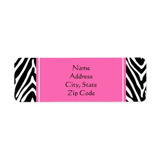 Black, White and Hot Pink Zebra Print Return Address Label