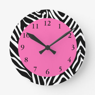 Black, White and Hot Pink Zebra Print Wall Clocks
