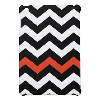 Black White And Orange Chevron Stripes Cover For The iPad Mini