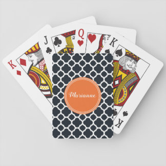Black, White and Orange Personalised Playing Cards