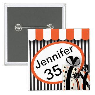 Black, White and Orange Stripes | DIY Text 15 Cm Square Badge