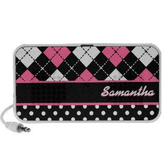 Black White and Pink Argyle Polka Dot Custom Name Notebook Speaker
