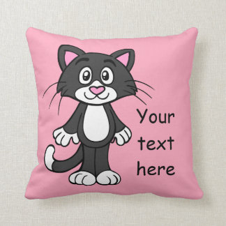Black, White and Pink Cat Pillow