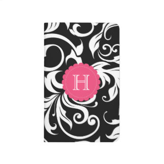 Black White and Pink Floral Swirl Monogram Journal