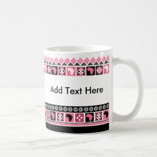 Black White and Pink Kente Pattern African Print Coffee Mug