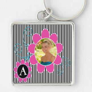 Black White and Pink Photo Monogram Keychain