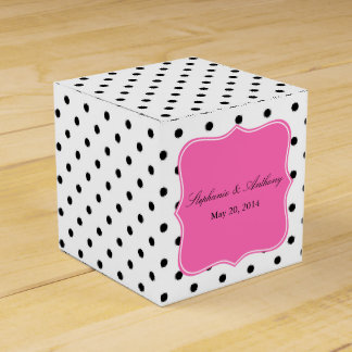 Black, White and Pink Polka Dot Wedding Party Favour Box