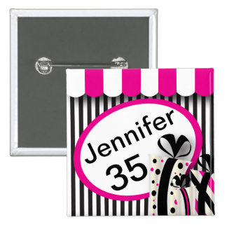 Black, White and Pink Stripes | DIY Text 15 Cm Square Badge