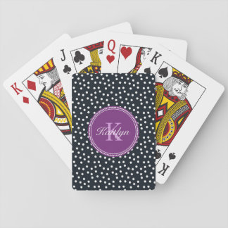 Black, White and Purple Personalised Playing Cards
