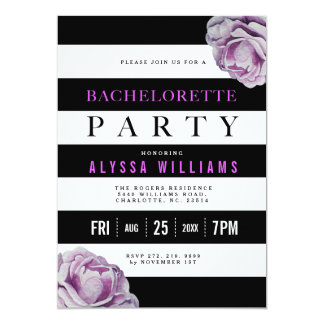 Black White and Purple Roses Bachelorette Party Card