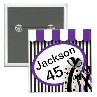 Black, White and Purple Stripes | DIY Text 15 Cm Square Badge