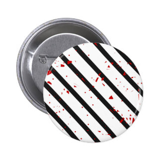 Black, white and red 6 cm round badge