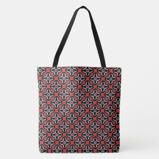 Black White and Red All Under Tote Bag