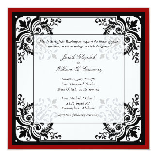 Black, White, and Red Baroque Wedding Invitation