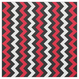 Black White and Red Chevron Fabric